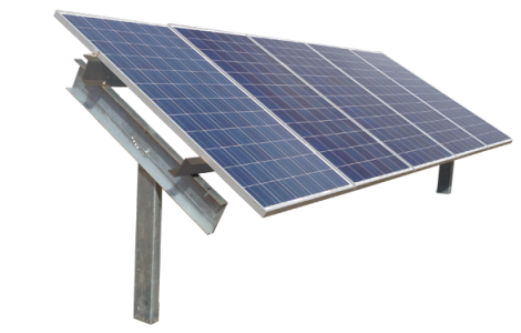 Solar ground mount racking image with 5 panels in portrait orientation