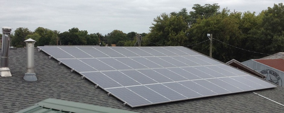 Photo of the Dark Horse Brewery solar installation on roof.