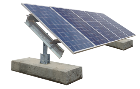 Ballasted solar ground mount with five solar panels attached.