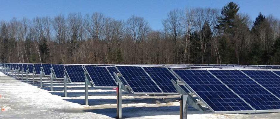 Skidmore college solar installation photo of solar racking and solar mounts with photo-voltaic panels attached.